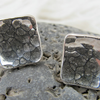 Sterling silver battered stud earrings