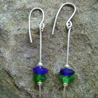 Sea Glass and Sterling Silver Stacker Earrings