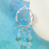 Chandelier 'Splash' Sea glass and silver earrings