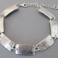 Sterling Silver Reticulated Bracelet with key charm