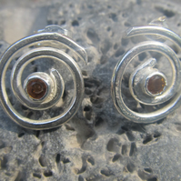 Sterling Silver and Faceted Citrine Spiral Stud Earrings