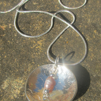 Silver 2 way pendant with river pearl and snake chain
