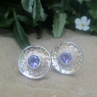 Concave sterling silver battered amethyst studs