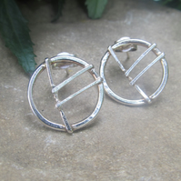 Rune of good fortune and abundance silver earrings