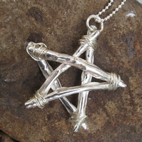 Fine Silver 'twig' Penatacle on a Sterling Silver Snake Chain