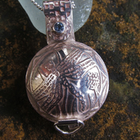 Etched Dragonfly Locket with Sky Blue Topaz