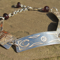 'Moon Goddess' bracelet with faceted garnet