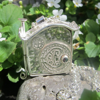 'Bag End' Hobbity Faerie House 'Wish' Locket with Fire Green Mystic Topaz