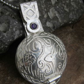 Moon Gazing Hare Locket with Amethyst