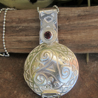 'Cauldron' Slide Locket with Garnet