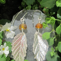 Fine Silver Bramble Leaf Earrings with Brown Sea Glass