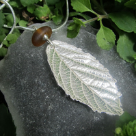 Fine Silver Bramble Leaf with Brown Sea Glass