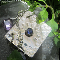 'Dreaming' silver book with Iolite