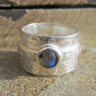 Swirls and Stars ring with Labradorite
