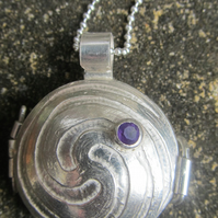 Sterling Silver Celtic Spiral Locket with Amethyst