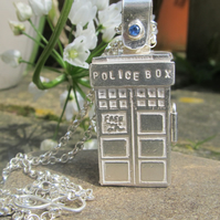 Police Box Locket with Sapphire