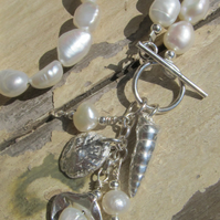 'The Mermaids Necklace'  with Silver Shells and River Pearls