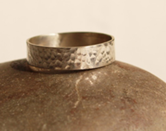 Silver Ring  - Handmade Textured Silver Ring Sterling Silver Band