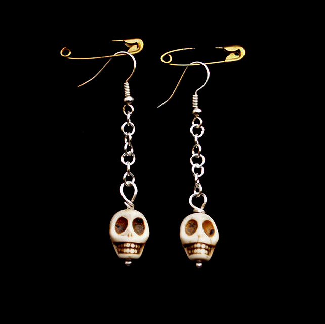 Skull Earrings Handmade Silver Earrings - Very Scarey Earrings