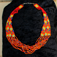 SALE 50% OFF - Bead Necklace Handmade Loom Woven Orange Tribal Necklace