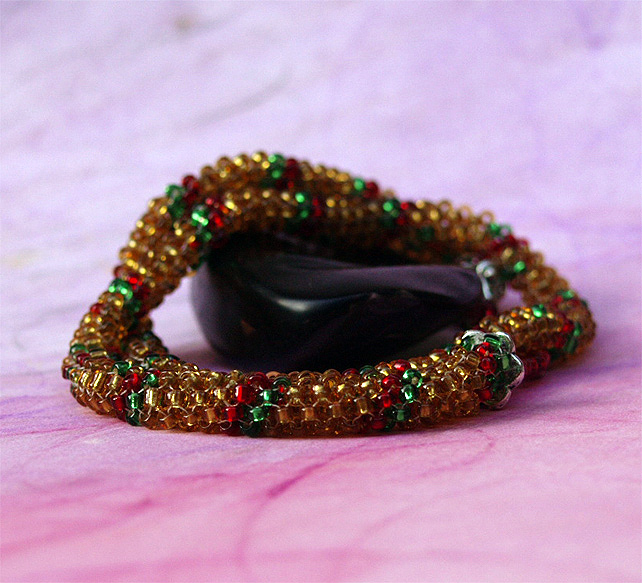 Bead Bracelet - Handmade Peyote Rope Golden Wonder Woodland Bracelet