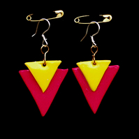 Triangle Earrings- Handmade Polymer Clay Yellow & Red  Pop-Art Abstract Earrings