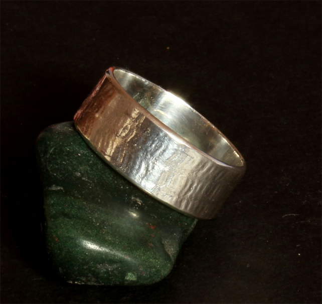 Silver Ring - Handmade Textured Silver Ring - Band Ring