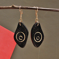 Black Earrings - Handmade Polymer clay Earrings Silver Inlay Earrings