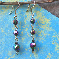 Bead Earrings - Handmade Earrings-Upcycled Beads - Carnival Bead Silver Earrings