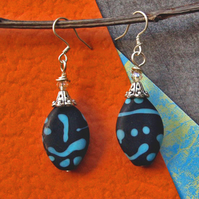 Bead  Earrings - Handmade Artisan Glass Beads - Black Earrings