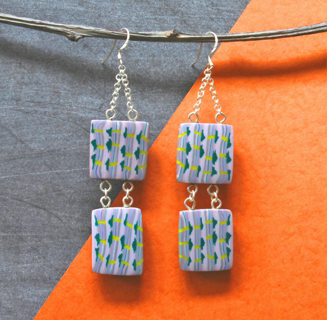 Bead Earrings- Handmade Polymer Clay Bead And Silver Earrings -Delicate Pattern