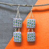 SALE 50% OFF - Bead Earrings- Handmade Polymer Clay Bead And Silver Earrings