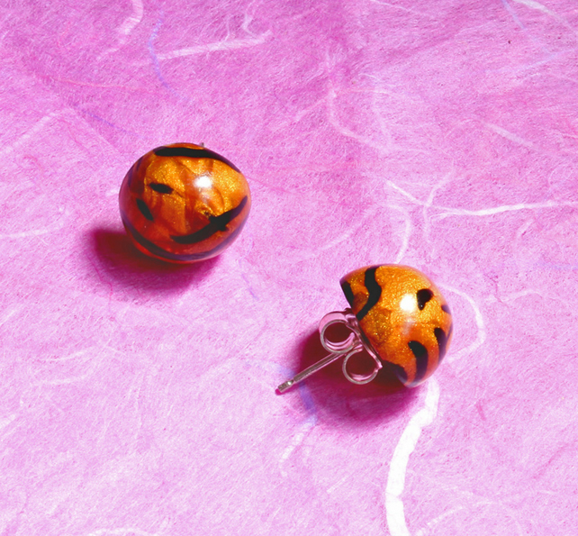 Ear Studs,Handmade Polymer Clay Earrings - Golden Tiger !