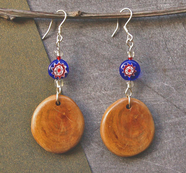 Wood Earrings -  Handmade Bead Earrings - Cherry Wood !