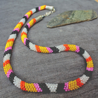 Bead Necklace -- Handmade Peyote Stitch Rope Necklace -  Pop Samba !