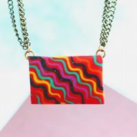 Orange Necklace - Handmade Polymere Clay Pendant