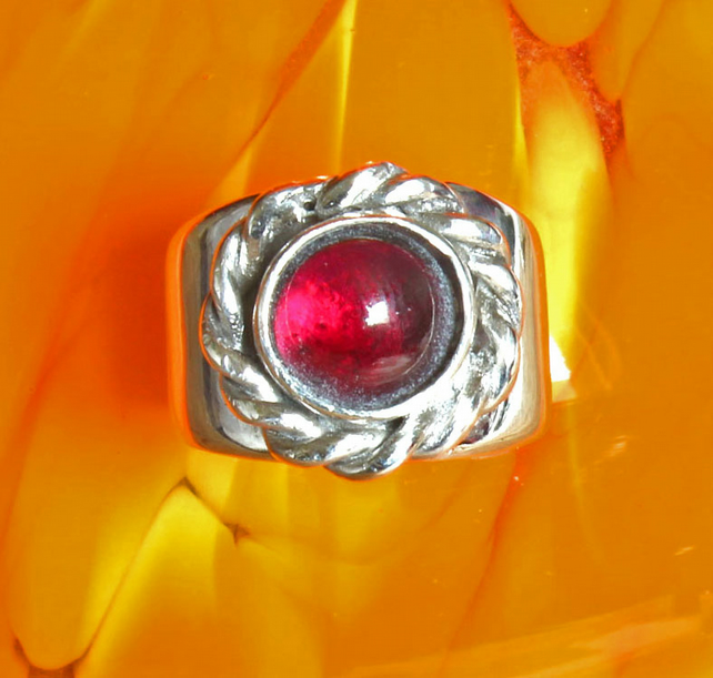 Mounted Garnet On Silver Band, Statement Celt Style Ring