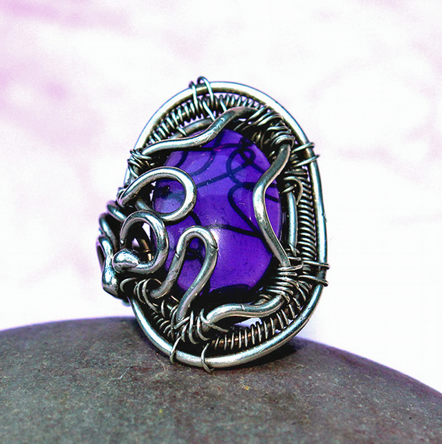 Silver Ring - Amethyst Ring - Handmade Woven Silver Ring -Gothic Style