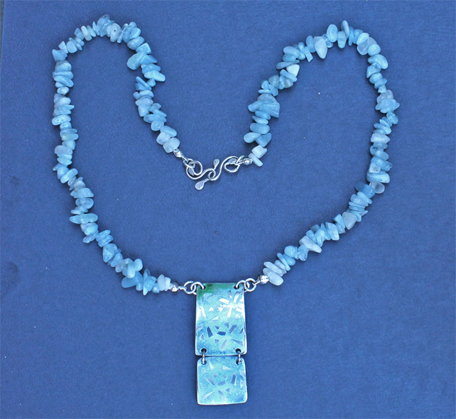 Silver Necklace - Handmade Enamel Pendant -  Aquamarine Chip Necklace