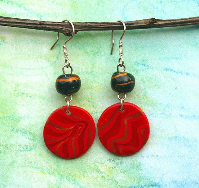 Bead Earrings - Handmade Polymer Clay Earrings Red Earrings