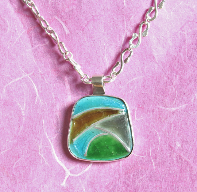 Silver Necklace - Enamel Pendant - Silver Chain - Landscape in France !