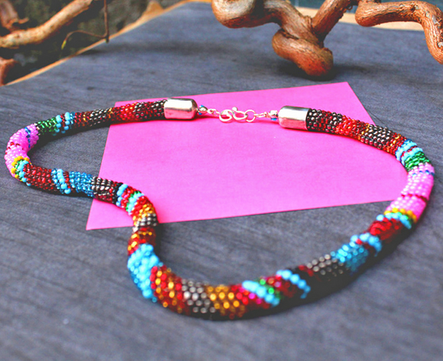 Bead Necklace -Handmade Peyote Stitch Necklace -  Potato Head Blues !
