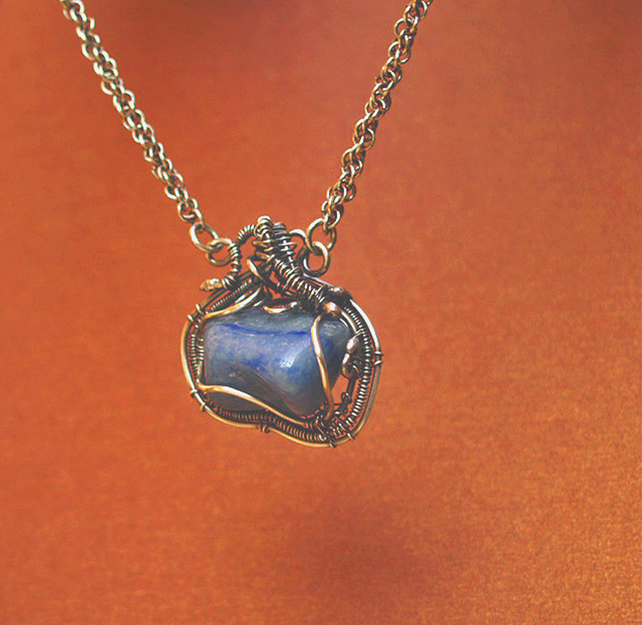 Silver Necklace - Handmade Woven Silver Sodalite Pendant  & Chain  -Viking Style