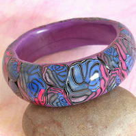 SALE 50% OFF - Chunky Bangle Handmade Polymer Clay Bangle - Purple Bangle
