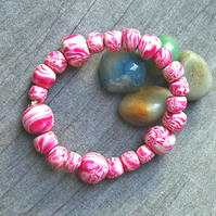 SALE -  Handmade Bead Bracelet - Pink Fluffy Clouds !