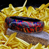 SALE - Chunky Bangle - Polymer Clay Bangle - Flaming Groovey