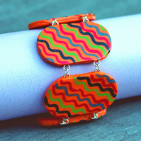 SALE 50% OFF - Bead Bracelet - Handmade Polymer Clay Orange Tile Bracelet