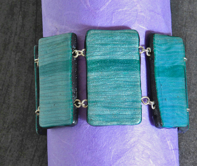 Bracelet Handmade Polymer Clay - Tiles In Silvery Teal- Cuff