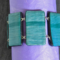 SALE 50% OFF - Bracelet -  Handmade Polymer Clay Tiles In Silvery Teal