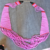 Bead Necklace - Handmade Loom Woven Necklace - Totally Pink